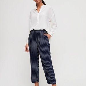 Modesto navy pin stripe pants size 00 Babaton